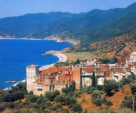 Iveron Monastery founded in 980 A.D. HALKIDIKI PHOTO GALLERY - Mount Athos Iveron Monastery